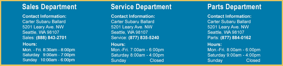 Carter Subaru Ballard Department Information in Seattle, Washington