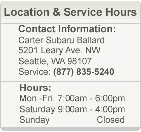 Carter Subaru Ballard Service Hours and Location