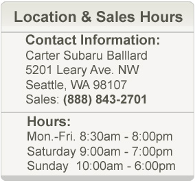 Carter Subaru Ballard Hours and Location Sales Department