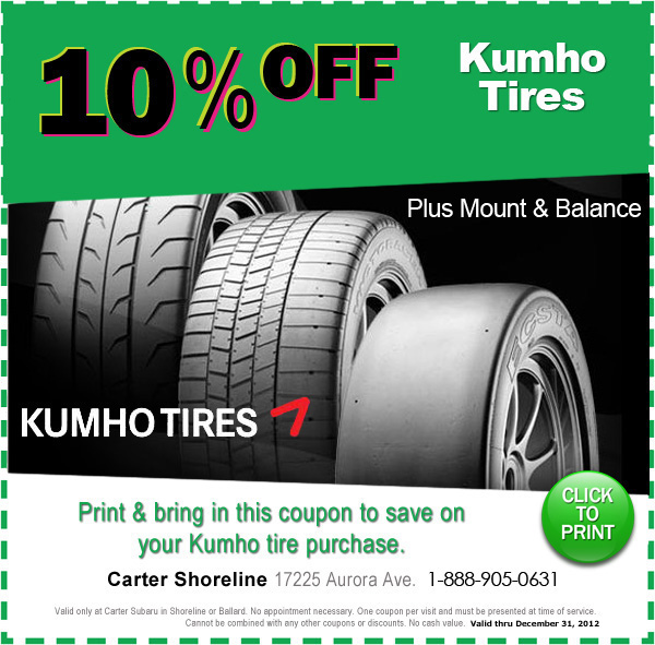 Carter Subaru Shoreline >> KUMHO Tires Special | Subaru Discount Tires Seattle