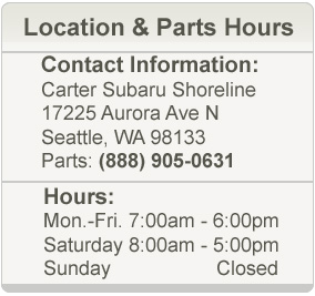 Carter Subaru Shoreline Parts Hours and Location