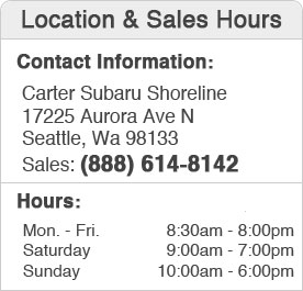 Carter Subaru Shoreline Hours and Location Sales Department