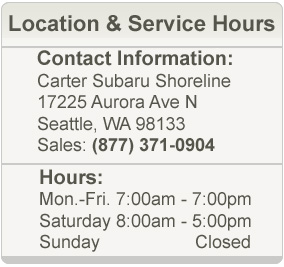 Carter Subaru Shoreline Service Department Hours and Location