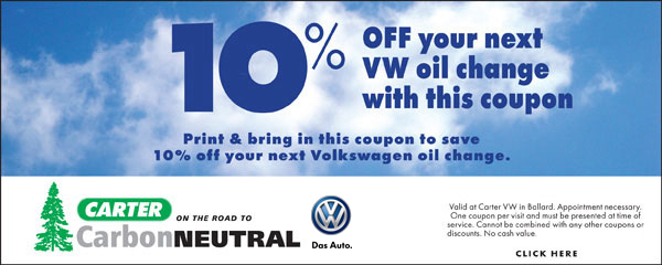 Carter Volkswagen Oil Change Special Seattle