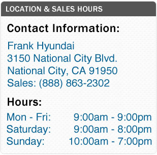 Frank Hyundai's Sales Department Hours, Location, Contact Information