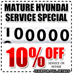 San Diego Hyundai 100,000 Mile Service Discount, Mature Repair Special, National City, California