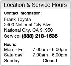Frank Toyota Service Department Hours, Location, Contact Information