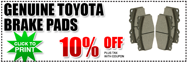 Discount Toyota Parts >> Genuine Toyota Brake Pads Parts Special San Diego County