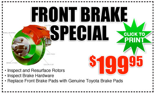 Brakes For Sale >> Toyota Front Brake Service Special San Diego County Maintenance