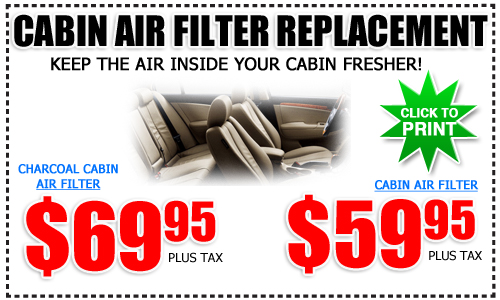 Toyota Cabin Air Filter Service Special, San Diego County, California