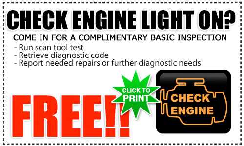 Toyota Check Engine Light Service Special, San Diego County, California