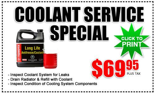 Coolant Service Special At Frank Toyota Near San Diego