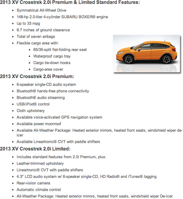 2013 Subaru XV Standard Specifications