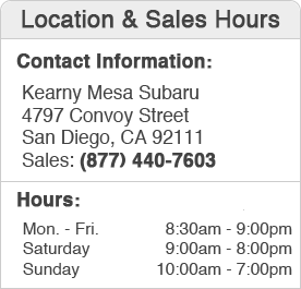 Kearny Mesa Subaru Sales Department Hours, Location, Contact Information