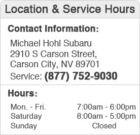 Michael Hohl Subaru's Service Department Hours, Location, Contact Information