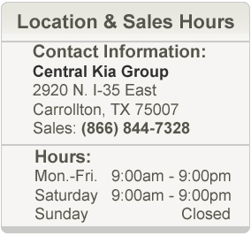 Central Kia Sales Hours and Location Texas