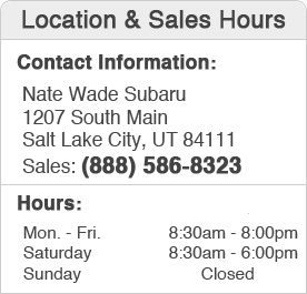 Nate Wade Subaru Sales Department Hours, Location, Contact Information