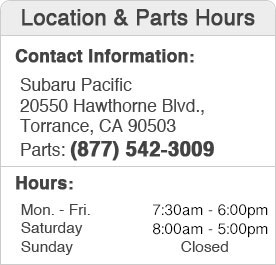 Subaru Pacific Parts Hours and Location Torrance