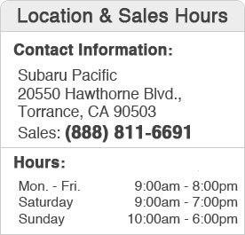 Pacific Subaru Hours and Location Sales Department