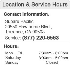 Subaru Pacific Service Hours and Location Torrance