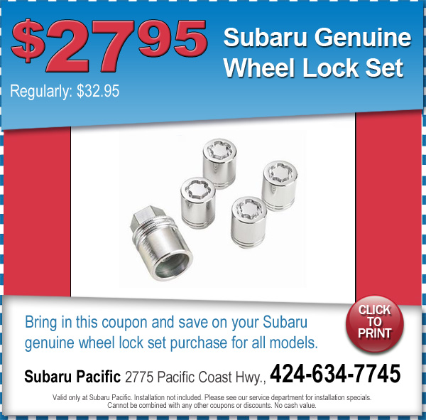 Subaru Wheel Locks Torrance California Parts Special