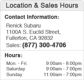 Renick Subaru Sales Hours and Location Los Angeles