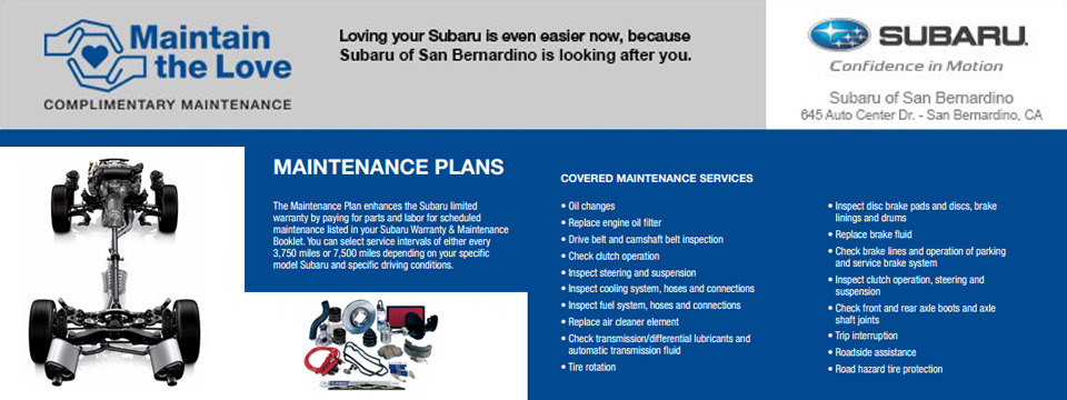 Maintain the Love Subaru Complimentary Maintenance