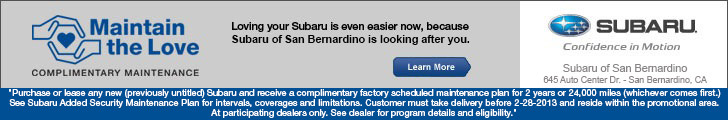 Maintain the Love Subaru Complimentary Maintenance