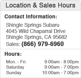 Shingle Springs Subaru Sales Hours and Location