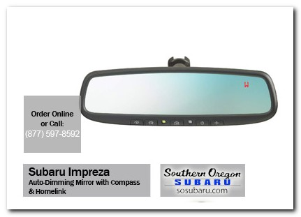 Medford, subaru, auto-dimming mirror, compass, homelink, impreza, accessories, parts, specials