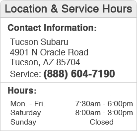 Tucson Subaru Service Center Hours, Location, and Contact Information