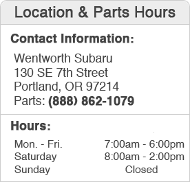Wentworth Subaru Parts Department Hours, Location, Contact Information