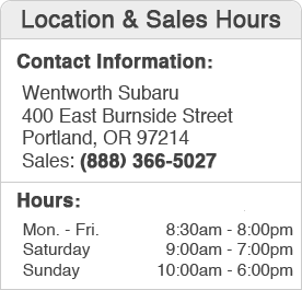 Wentworth Subaru Sales Department Hours, Location, Contact Information