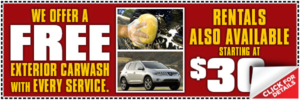 Nissan Free Exterior Car Wash with Paid Service and Rental Car at $30 a Day Special & Maintenance Discount Coupon serving Westchester, New York