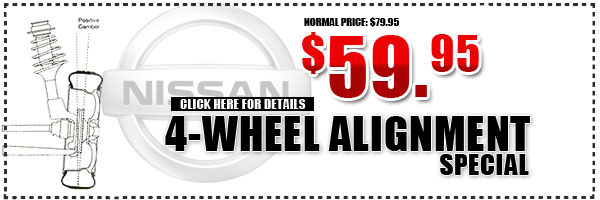 Nissan 4 Wheel Alignment Service Special serving Westchester, New York