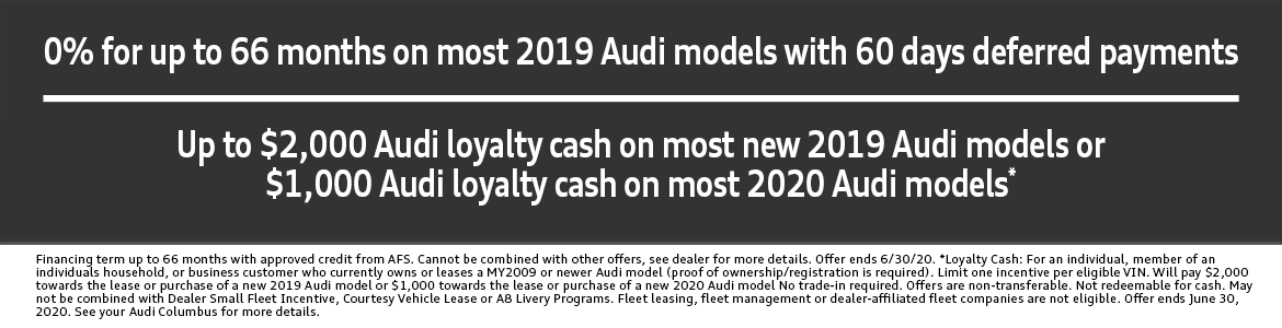 0% for up to 66 months on most 2019 Audi models with 60 days deferred payments in Columbus, OH