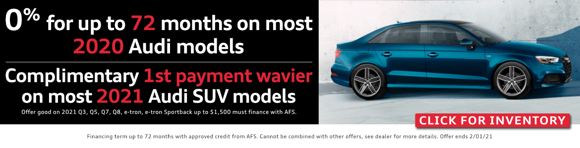 0% for up 72 months on most 2020 models at Audi Columbus in Columbus, OH