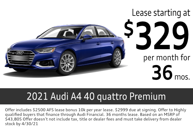 New 2021 Audi A4 40 quattro Premium lease special at Audi Columbus in Columbus, OH