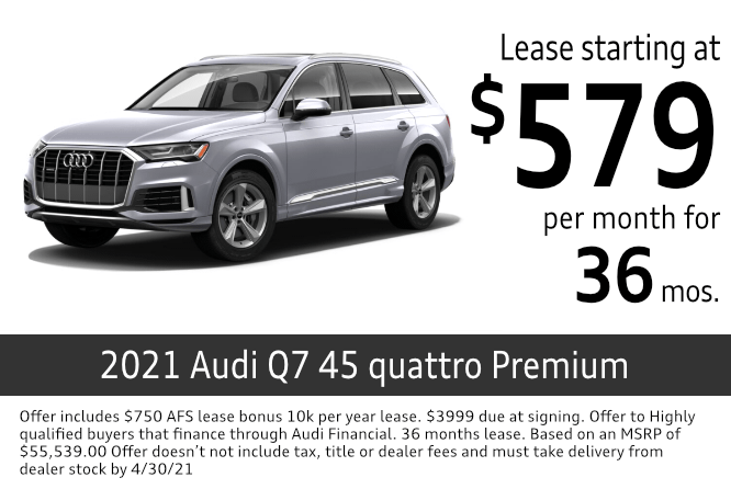 New 2021 Audi Q7 45 quattro Premium lease special at Audi Columbus in Columbus, OH