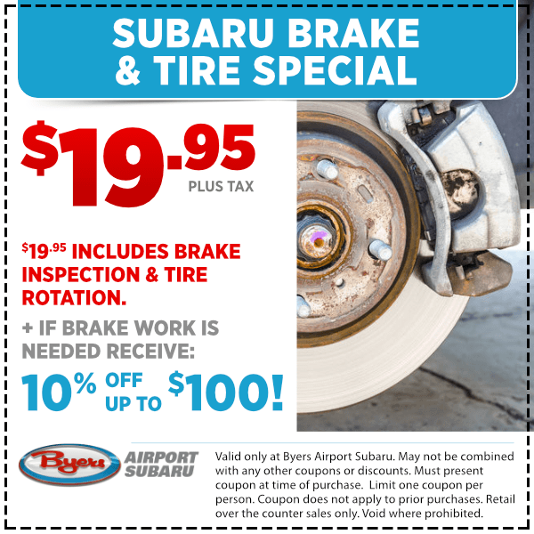 Subaru Brake Inspection and Tire Rotation Service Special serving Columbus, OH