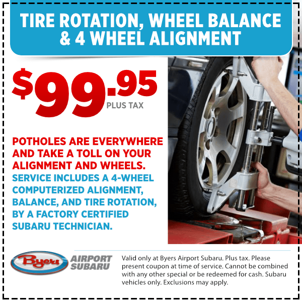 Get your Tire Rotation, Wheel Balance, and 4-Wheel Alignment Services for a special price at Byers Airport Subaru in Columbus, OH