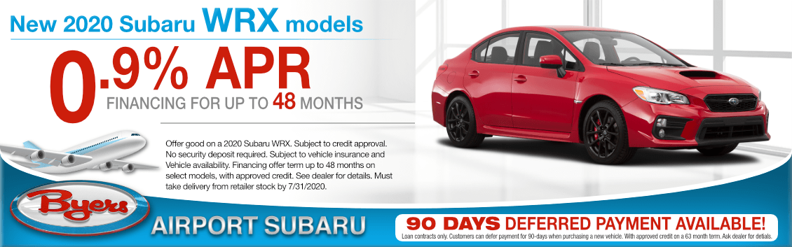 New 2020 Subaru WRX Financing Special at Byers Airport Subaru in Columbus, OH