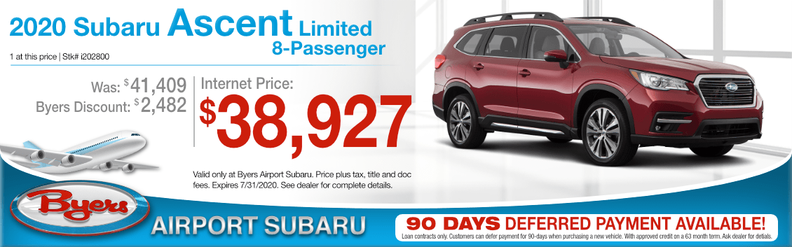 New 2020 Subaru Ascent Limited Special Purchase Offer at Byers Airport Subaru in Columbus, OH