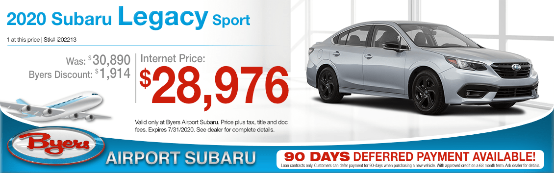 New 2020 Subaru Legacy Sport Purchase Special at Byers Airport Subaru in Columbus, OH