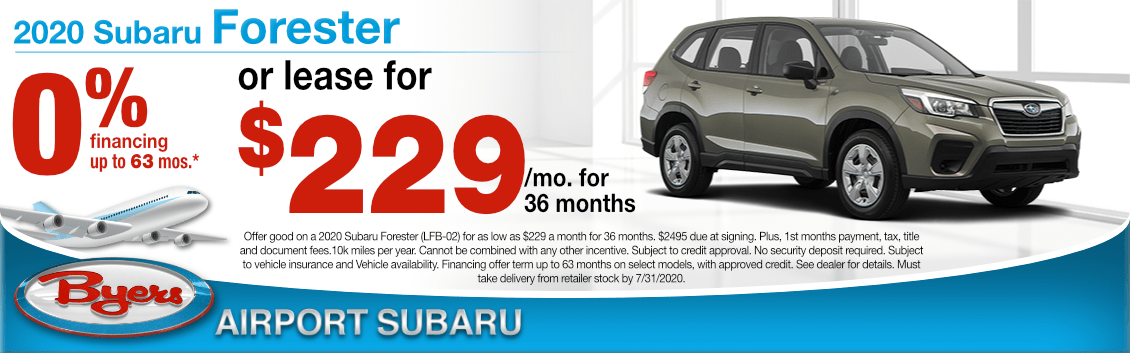 New 2020 Subaru Forester Lease Special at Byers Airport Subaru in Columbus, OH