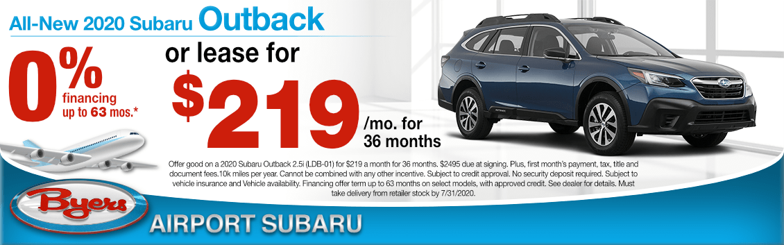 New 2020 Subaru Outback Lease Special at Byers Airport Subaru in Columbus, OH