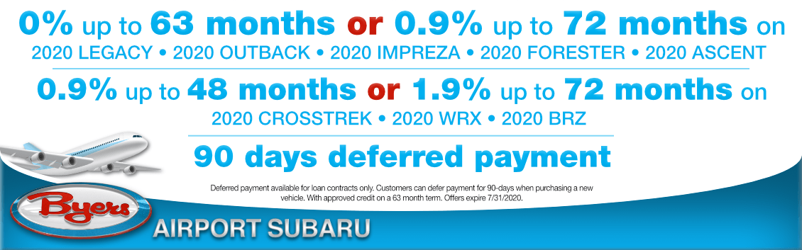 New Subaru Special Financing Incentives at Byers Airport Subaru in Columbus, OH