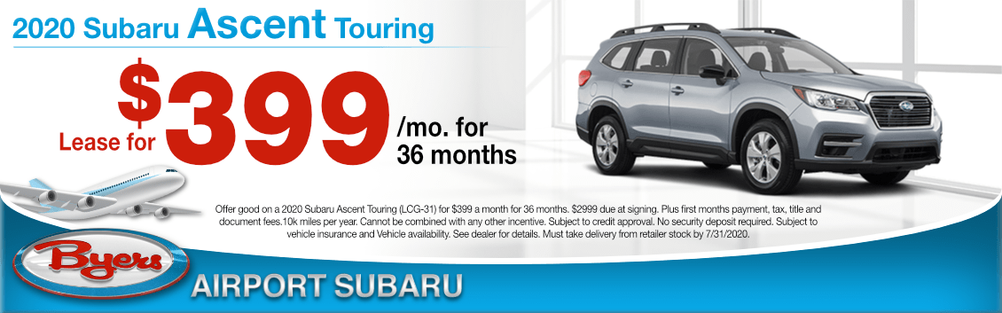 New 2020 Subaru Ascent Touring Lease Special at Byers Airport Subaru in Columbus, OH