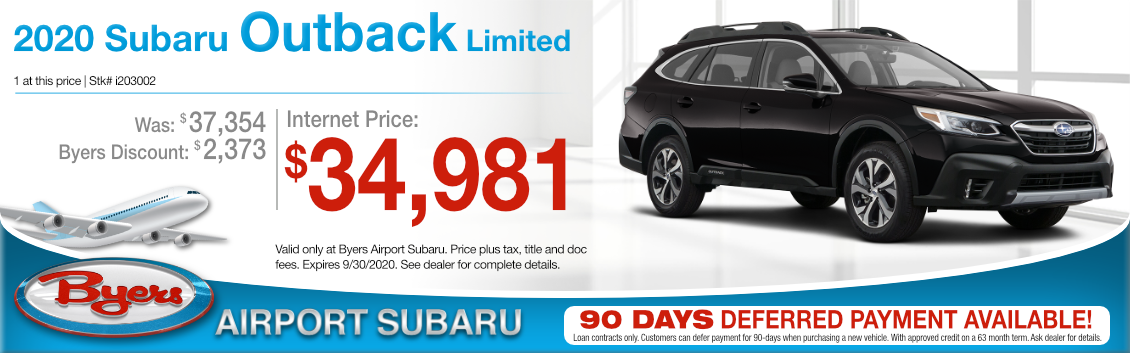New New 2020 Subaru Outback Limited Purchase Special at Byers Airport Subaru in Columbus, OH