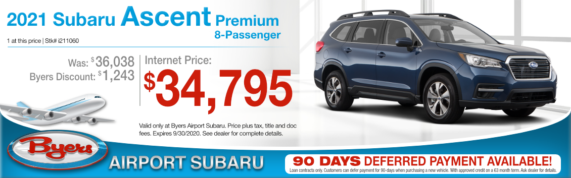 New 2021 Subaru Ascent Premium 8 Passenger SUV Purchase Special at Byers Airport Subaru in Columbus, OH